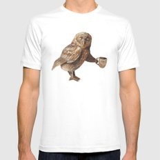 Omar Owl - Critters and Cups MEDIUM Mens Fitted Tee White
