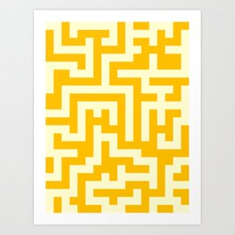 Cream Yellow and Amber Orange Labyrinth Art Print