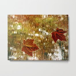 Rainy Maple Leaves Metal Print
