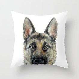 Shepard Dog illustration original painting print Throw Pillow