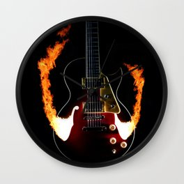 Burning Rock Guitar Wall Clock
