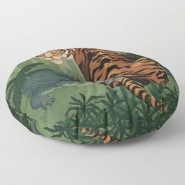 The Tiger and the Crocodile Illustration by Asia Orlando Floor Pillow