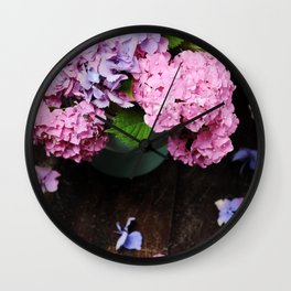 Beautiful hydrangea flowers Wall Clock
