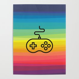 Gamer By Nature - rainbow joystick Poster
