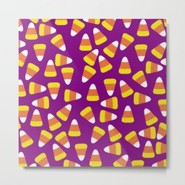 Candy Corn Jumble (purple background) Metal Print