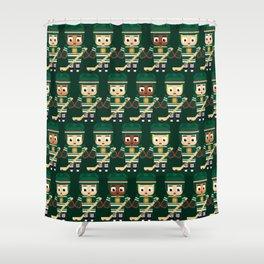Super cute sports stars - Ice Hockey Green Shower Curtain