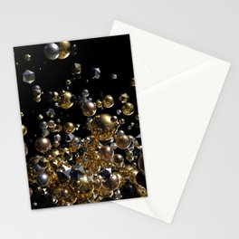 Elegant Abstract Geometry Explosion -Gold and Silver,Black- Stationery Cards