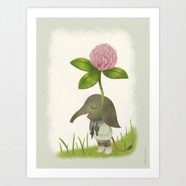 Little Elephant and the Dandyflower Art Print