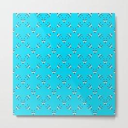 Foxes blue pattern Metal Print
