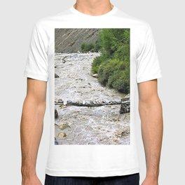 Rustic Bridge Across River Himalaya Mountain Himalayan Landscape T-shirt
