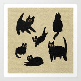Black Cats with Big Eyes Illustration Art Print