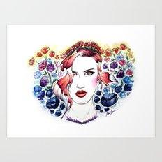 Technicolor Flower Portrait Art Print