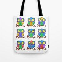 cartoon Tote Bags featuring Cartoon Owls by Rockett Graphics