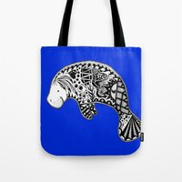 manatee Tote Bags featuring Manatee by Casey Virata