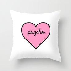 Psycho Pink Heart Throw Pillow