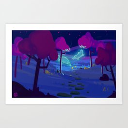 night of colour Art Print