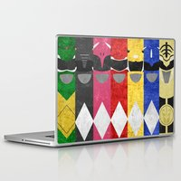 power rangers Laptop & iPad Skins featuring Mighty Morphin Power Rangers by Some_Designs