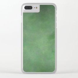 Abstract Soft Watercolor Gradient Ombre Blend 1 Deep Dark Green and Light Green Clear iPhone Case