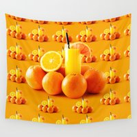 orange pattern Wall Tapestries featuring Orange Pattern by Azeez Olayinka Gloriousclick