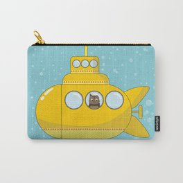 Yellow submarine with a cat and bubbles Carry-All Pouch