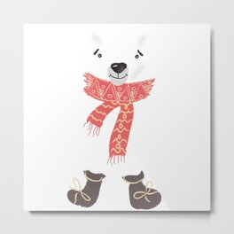 Christmas cute bear. Winter design illustration Metal Print