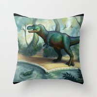 trex Throw Pillows featuring Trex pool by KateArts