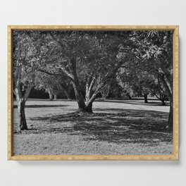 Black and white forest landscape Serving Tray