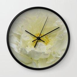 White Peony Tree Bloom Wall Clock