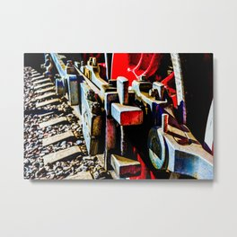 Eccentric Crank Of A Red Wheel Of An Ancient Steam Engine Locomotive Metal Print
