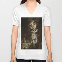 clown V-neck T-shirts featuring clown  by AliluLera