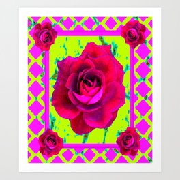 Red Roses Cerise-Chartreuse Lattice Pattern Art. Art Print