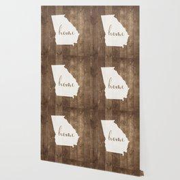Georgia is Home - White on Wood Wallpaper