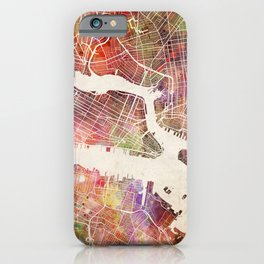New York Map Watercolor iPhone Case