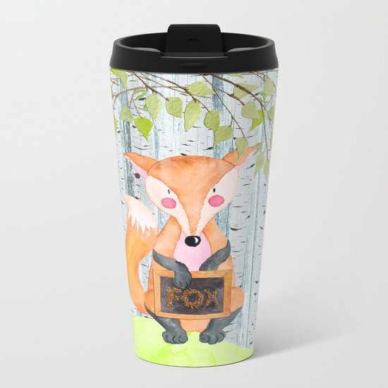 The little Fox- Woodland Friends- Watercolor Illustration Metal Travel Mug