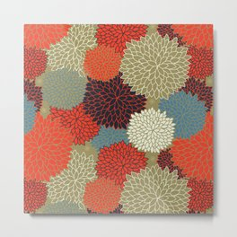 Bright Floral Abstract, Navy Blue Orange,Flowers Metal Print