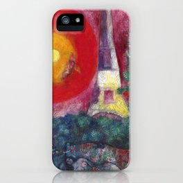 The Eiffel Tower landscape painting by Marc Chagall iPhone Case
