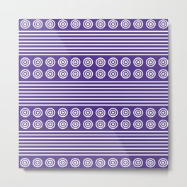 Purple and White Horizontal Stripes and Circles - Purple Series Metal Print