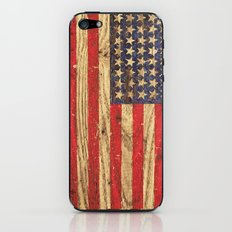 Vintage Patriotic American Flag on Old Wood Grain iPhone & iPod Skin