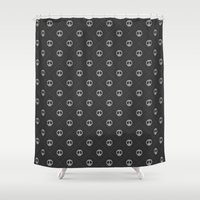 gray pattern Shower Curtains featuring Pattern Skulls Gray by Raquel Catalan Designs