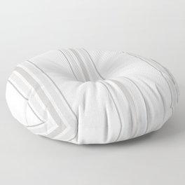 Farmhouse Ticking Stripes in Gray on White Floor Pillow