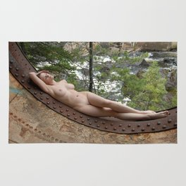 6893-LP Industrial Odalisque Fine Art Nude Woman by the Dead River Rug