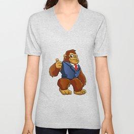 Gorilla in suit. Unisex V-Neck