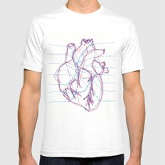 Heart MEDIUM White Mens Fitted Tee