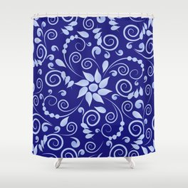 Blue floral print in Russian folk style Shower Curtain