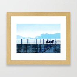 Faded blue landscape Framed Art Print