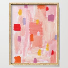 Put Sorrows In A Jar - abstract modern art minimal painting nursery Serving Tray