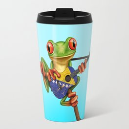 Tree Frog Playing Acoustic Guitar with Flag of Bosnia - Herzegovina Travel Mug