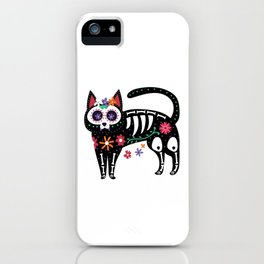 Sugar Skull Black Cat Day of Dead Cute Mexican Skeleton Gift iPhone Case