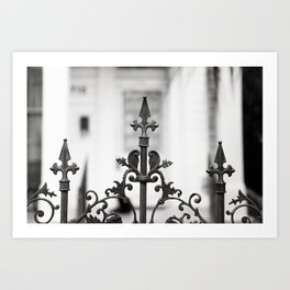 New Orleans Marigny Black and White Fence Art Print