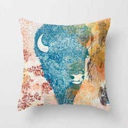 Blue Bison Throw Pillow